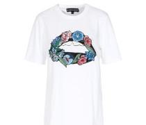 Baumwoll-Shirt mit Kussmund-Patch Weiß