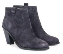 Veloursleder-ankle-boots Dunkelblau