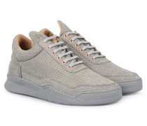 Perforierter Low Top Veloursleder-Sneaker Grey
