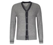 Merino-cardigan Mit Abgesetzter Knopfleiste Grey