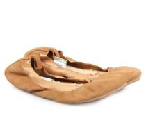 Hausslipper Aus Veloursleder Im Ballerina-stil Chestnut