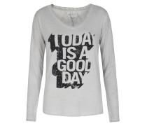 Langarmshirt Mit Viskose Und Schriftzug Grey