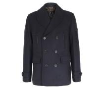 Mantel Corringham aus Wolltwill Blau/Schwarz