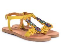 Sandalen mit Schmucksteinbesatz Gelb
