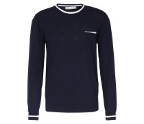 Baumwoll-Pullover mit Brusttasche Dunkelblau