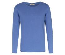 Baumwoll-Pullover mit Rollkante Mittelblau