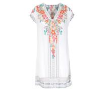 Tunika-kleid Aus Rayon Mit Blumenstickerei Weiß