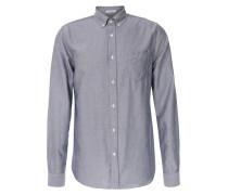 Baumwoll-Oxford-Hemd mit Brusttasche Mittelblau