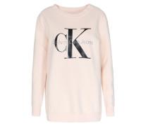 Baumwoll-sweater Mit Schriftzug Puder