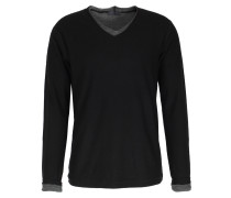 Merinowoll-pullover Im Layered-look Black/anthracite