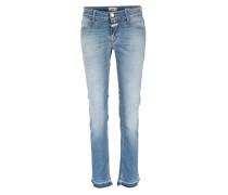 Cropped Skinny Jeans Starlet Light Worn Blue Open Edges