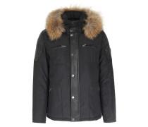 Wattierte Jacke mit Leder-Details und Fellbesatz Black