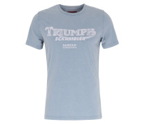 Baumwoll Shirt mit Slogan-Print Dk. Chambray
