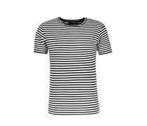 Crew Neck T-Shirt mit Streifen Black White