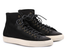 Veloursleder-High-Top Sneakers Tanino Nero