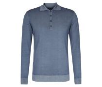 Polo-Pullover aus Merinowolle im Denim-Washed-Look