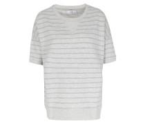 Gestreifter Kurzarm-sweater Hellgrau