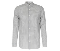 Gesteiftes Baumwoll-Hemd Weiß/Blau