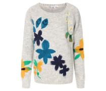 Pullover im Alpaka-Baumwoll-Mix mit Blumen-Details