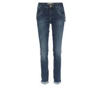 Jeans Mit Stitching- Und Zipper-details Dark Blue