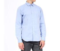 Hemd mit Micro-Dots aus Baumwolle Hellblau
