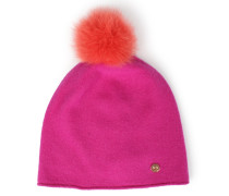 Beanie-wollmütze Mit Abnehmbarem Fellbommel Pink