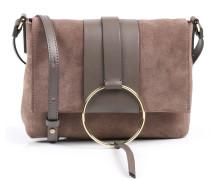 Veloursleder-Tasche mit Ring-Detail Almond