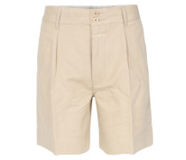 Leinen-mix Shorts Beige