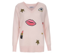 Cashmere Pullover Macall mit Print-Motiven Pink Champagne