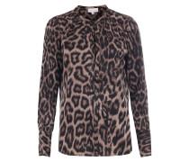 Seiden-Stretch-Bluse Leopard