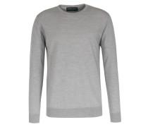 Rundhals-pullover Aus Merinowolle Hellgrau
