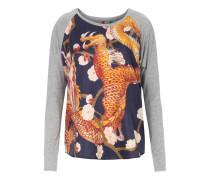 Langarm-Shirt Winnie mit Seide Tiger Grau