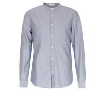 Baumwollhemd mit Stehkragen Blaugrau