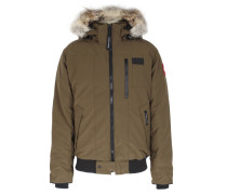 Daunenjacke Borden Bomber mit Fellbesatz Military Green