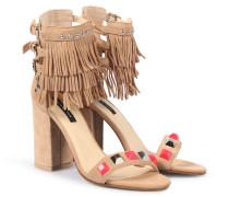 Leder-sandaletten Mit Fransen Und Nieten