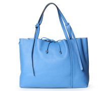 Ledershopper mit Extra-Tasche Hellblau