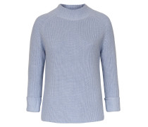 Baumwoll-strickpullover High Neck Himmelblau