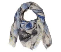 Tuch aus Schurwoll-Angora-Seiden-Mix Grau Blau