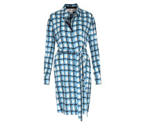 Seiden-Hemdblusenkleid Check True Blue