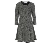 Gemustertes Kleid im Viskose-Mix Schwarz/Weiß