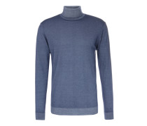 Turtleneck-Pullover aus Merinowolle Washed Out Dunkelblau
