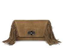 Veloursleder Boho Clutch Mit Fransen Military Green