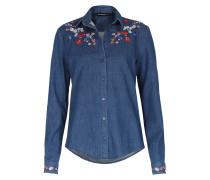 Jeansbluse Floral Blu Denim