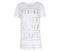 Shirt Mit Metallic-print Weiß