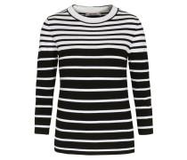 Gestreifter Pullover im Viskose-Mix Schwarz Weiß