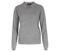 Cashmere Pullover Mit Hemdkragen Soft Grey