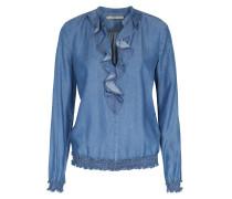 Jeans-bluse Mit Rüschen-details