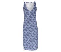 Kleid Libelle Mit Schwäne-print Mittelblau