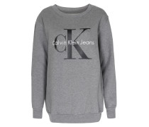 Baumwoll-Sweater mit Schriftzug Grau