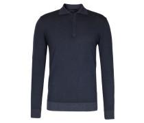 Polo-Pullover aus Merinowolle Dunkelblau